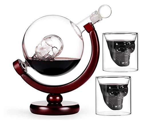KEKEYANG Decanter Conjunto con 2 Gafas de Tiro de cráneo, Hermosa Base de Madera y Copa de la Cabeza de cráneo, rotable de 360 Grados, para escocés y Vodka Vidrio de Tiro 850 ml Licorera