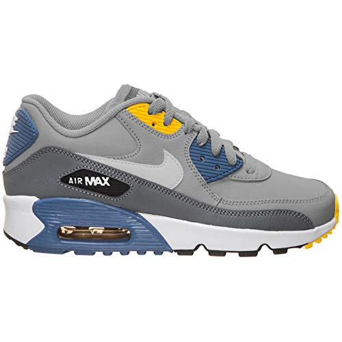 Nike Youth Air Max 90 LTR Leder Wolf Grey Indigo Trainer 38 EU