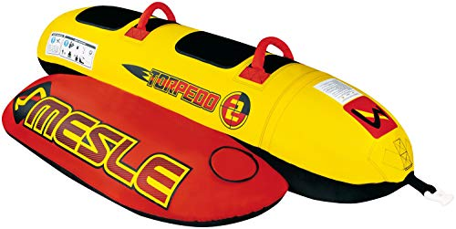 MESLE Skibob Torpedo, 2 Personen Fun-Tube, Towable-Tube, rot-gelb, incl. Reparaturset, Bananen-Boot, aufblasbar, Kinder & Erwachsene, Speed-Wassergleiter, 840 D Nylon, sicher & kippstabil