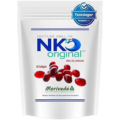 NKO Krill Oil softgel Capsules (Test Winner) 30, 90 or 270 pcs. in Pharmacy Quality from MoriVeda - Omega 3,6,9 astaxanthin, Vitamin E, Choline, phospholipids, krilloil (30 softgel Capsules)