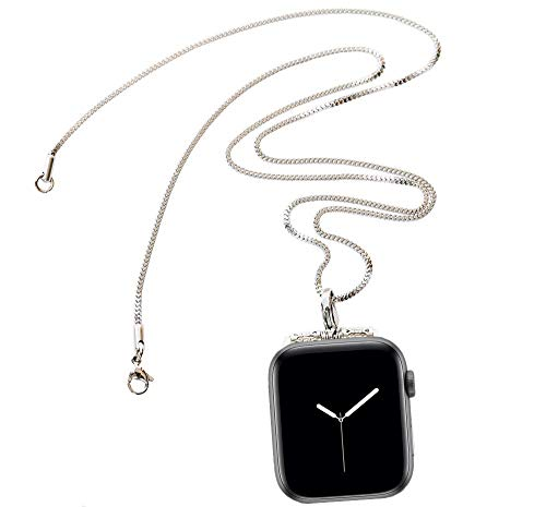 Stainless Steel Chain Necklace Smartwatch Band 38mm Series 3 2 1 / 40mm Series 4 New Newest Polished Silver Metal Box Chain Strap Rope Neckband Replacement Accessories Wearable Technology Women Men