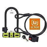 urban UR80150B Candado Antirrobo U 80x190 Cable 120cm Soporte Bicicleta