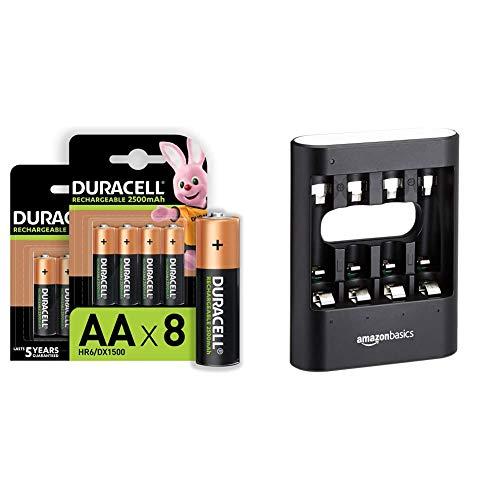 Duracell Piles Rechargeables AA 2500 mAh idéales pour Les manettes Xbox, Lot de 8 Piles [Amazon Exclusive] & Amazon Basics Chargeur Rapide USB - Noir