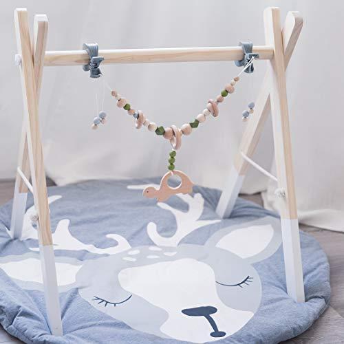 Mamimami Home 1pc Baby-Silikon-Beißringe Holzschneckenwagen Kettenhalter Kinderkrankheiten Spielzeug Kinderwagen Kinderwagen Activity Bar mit Quietschen