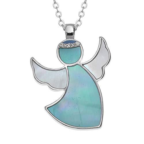 Vendita: Kiara Jewellery - Collana con ciondolo a forma di angelo custode, intarsiata con madreperla blu e bianca con aureola di vetro su catenina da 46 cm