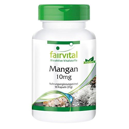 Mangan Kapseln 10mg - HOCHDOSIERT - aus Mangangluconat - Vegan - essentielles Spurenelement - Manganese - 90 Kapseln