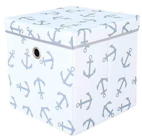 miRio • Aufbewahrungsbox mit Deckel | Spielzeugkiste Kinderzimmer | Kinder Storage/Ordnungsbox weiß mit grauen Ankern | sehr stabil/geruchsarm | 33x33x33cm