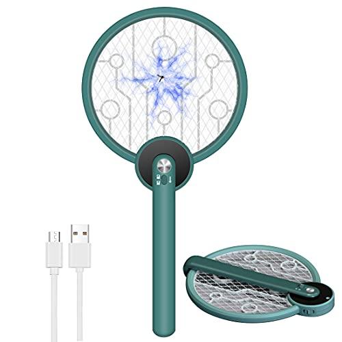 OVAREO Raqueta Matamoscas Electrico, Raqueta Mosquitos Eléctrica Recargable USB Plegable, 3500 Voltios, Antimosquitos Mata Mosquitos Electrico para Interior Exterior (Grün)