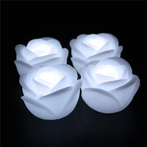 LACGO 7,6 cm große, wasserdichte schwimmende LED-Kerze, aus echtem Wachs, flammenlose LED-Kerze, wasseraktivierte Rosenblüten-Form, für Babyparty, Hochzeit, Zuhause, Party(weiß, 4 Stück)