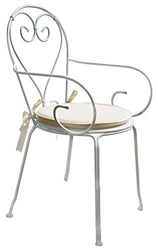 PEGANE Chaise Jardin en Fer forgé Coloris Blanc. A Usage Professionnel- Dim : H 90 x L 51 x P 52 cm