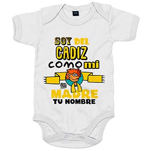 Body bebé soy del Cádiz como mi madre personalizable con nombre ilustrado por Jorge Crespo Cano - Blanco, Talla única 12 meses
