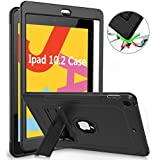ZoneFoker iPad 7th Generation 10.2 2019 Case, Shockproof High Impact Dual Layer Full Body Rugged Protective Case - Black