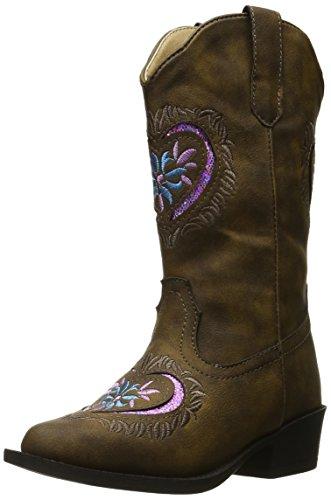 ROPER Girl's Daisy Heart Western Boot, Brown, 2 M US Little Kid