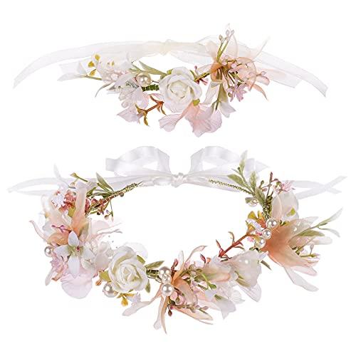 Blumenkranz Blume Krone Stirnband, Taumie Blumen Stirnbänder Kopfschmuck Haarbänder Floral Girlande, Perle Braut Haarschmuck mit Armband-Set, Damen Mädchen für Festival Party Hochzeit Strand