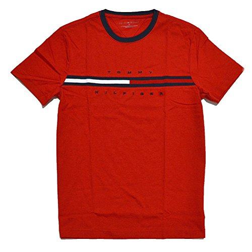 Tommy Hilfiger Mens Classic Fit Big Logo T-Shirt (Ribbon Red, Medium)
