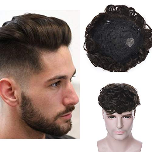 Silk-co Haarteile Echthaar Topper Extensions Echthaar für Männer Clip in Extensions Echthaar Gewellt Toupet Haarverdickung Haarverlängerung für Frauen 7A Human Hair 10cm-35g 02# Dunkelbraun