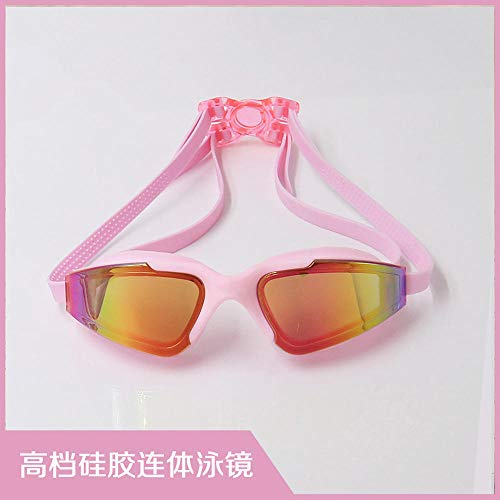 MHP Antifogging zwembrillen-groot frame gegalvaniseerde zwembril antifogging zwemspot verblindend zwemmen roze