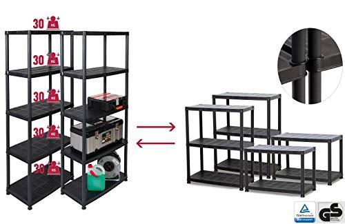 Super-Deal: 2 Kunststoffregale mit je 5 Böden und einer Traglast von 150 kg (gesamt 300 kg), teilbar durch modularen Aufbau sowie zusätzlichen Kappen und Füße