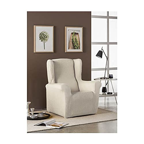 Acomoda Textil - Funda para Sillón Relax Elástica y Ajustable. Funda Diseño Moderno y Resistente XXL. (Funda Sillón Orejero, Beige)