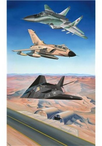 Minikit - 3 Desert Storm Flugzeugen mit bedruckter Spielfläche, Bausatz