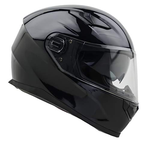 Vega Helmets Ultra Max Street Motorcycle Helmet w/Sunshield Bluetooth Compat Unisex-Adult Full Face powersports (Gloss Black, MD)