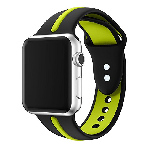 for Apple Watch Band, VIPPLUS Soft Silicone iWatch Band Sports Fan Replacement Wristband Contrast Color Splicing Strap Stripe for Apple Watch Series 1 Series 2 Series 3 (42mm Black/Yellow)