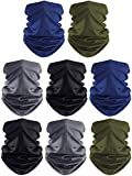 SATINIOR 8 Pieces Summer Face Coverings Face Gaiters Neck Gaiter Headwear for Outdoor Cycling Fishing (Black, Dark Grey, Navy Blue,...