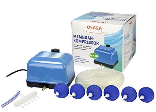 Osaga Teichbelüftungs-Set MK-30, komplett Belüfterset für Gartenteich Koiteich und Aquarium. Zum Sauerstoff einbringen in Ihr Gewässer
