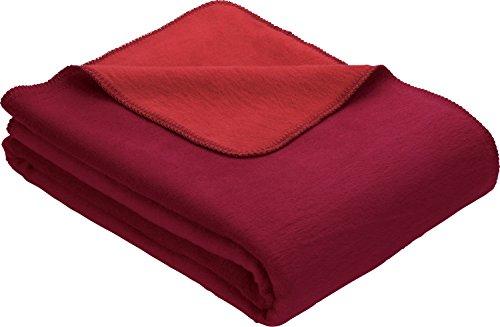 Erwin Müller Wohndecke, Wolldecke dunkelrot/rot Größe 100x150 cm - weich, temparaturausgleichend, atmungsaktiv, hautfreundlich (weitere Farben)