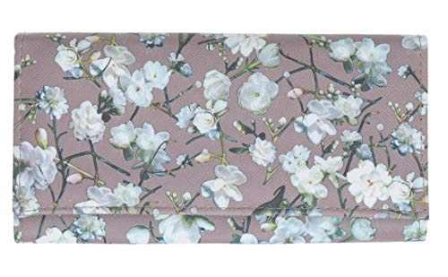 Geldbörse Damen Börse lang Alessandro Flower Roses Maxi Damengeldbörse Kunstleder Geldbeutel Wallet 2807 + Schlüsseletui (Nude Flower (Beige Braun))