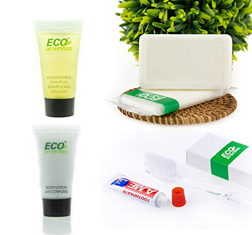 ECO Amenities Hotel Soap, Body Lotion, Mini Size Shampoo and Conditioner and Disposable Toothbrush with Toothpaste 4-Piece All-in-Kit Hotel Toiletries in Travel Size for Guest, 15 Pack