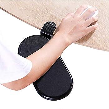 FUZADEL Ergonomic Desk Clamp On Mouse Platform Extension Attachable Mouse Pad Tray Under Desk  Black