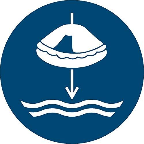 Rettungsfloß fieren beim Aussetzvorgang Aufkleber Ø 20 cm (wetterfest)