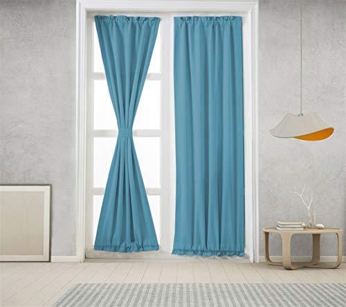 Icegrey Verdunkelung Französische Türvorhänge Gardinen Wärmeschutz & Geräuschreduzierung für Zimmer Blau, 63,5x101,6cm