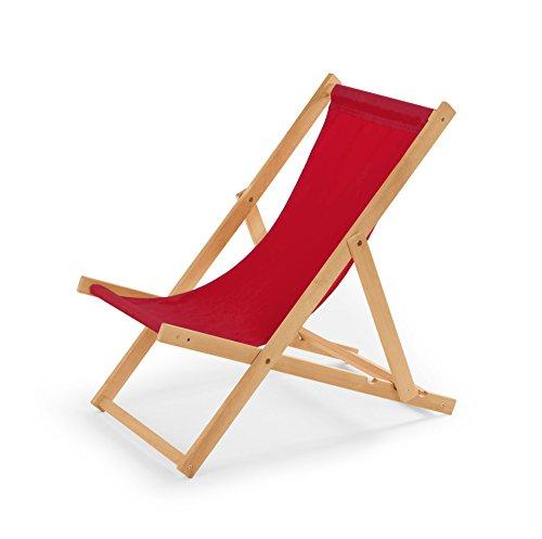 IMPWOOD Chaise longue de jardin en bois, fauteuil de relaxation, chaise de plage rouge