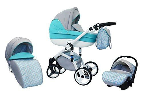 Kombi Kinderwagen Travel System Wiejar Evado T27 3in1 Buggy Sportwagen Babyschale Autositz 0-13kg + Zubehör