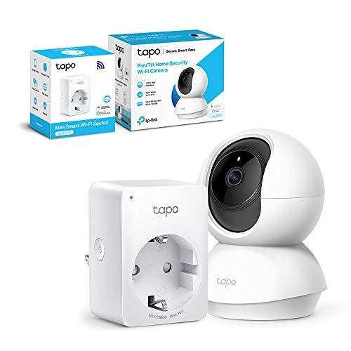 TP-Link - Cámara IP WiFi 360º, Cámara de Vigilancia FHD 1080p + TP-Link Tapo P100 - WiFi Enchufe Inteligente Mini tamaño