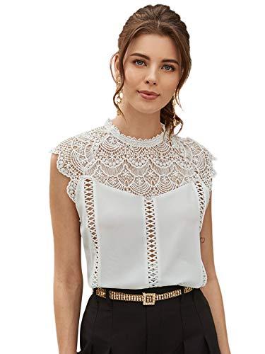 SheIn Women's Elegant Cap Sleeve Keyhole Contrast Lace Blouses Tops White#4 Medium