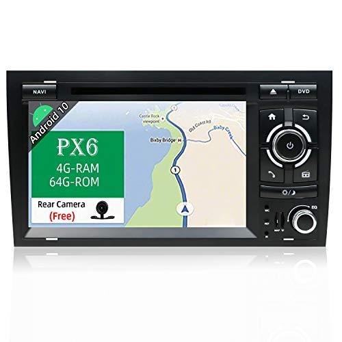 JOYX PX6 Android 10 Autoradio Compatible para Audi A4 (2003-2011) Navegacion 【4G/64G】- GPS 2 DIN - Libre Cámara Trasera & Canbus - Soporte HDMI 4K-Video Bluetooth5.0 Dab Carplay WLAN MirrorLink 4G