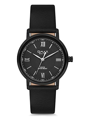 Omax Men's Black Wristwatch Black Case Black Leather Strap Japan Movement DX23M22I