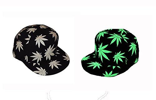 Casquette à motifs phosphorescents feuille de cannabis, brille dans le noir