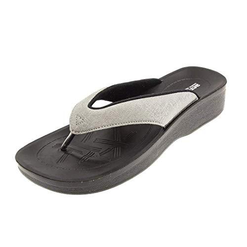 Aerosoft LC3801 Silver 38 Zehensandalen für Frauen mit hohem Fußgewölbe - Flip Flops für Mädchen mit Rücken-, Bein- und Fußschmerzen - Süße Frau Open Toe Beach Friendly Sandal