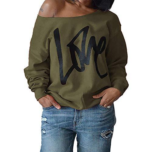 TOPKEAL Brief Lange Ärmel Hoodie Pullover Damen Herbst Winter Kapuzenpullover Trägerloses Sweatshirt Winterpullover Jacke Mantel Mode Tops …