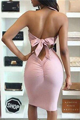Las Mujeres Verano Elegante 2 Piezas Vestido De Paillettes Crop Top Y Falda Vestido De Fiesta Vestido Bodycon Pink XS
