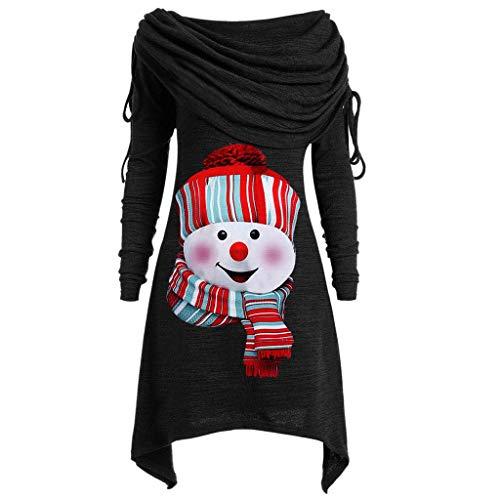 SEEGOU Weihnachtspullover Damen Rollkragenpullover mit Weihnachtsmann Santa Claus...