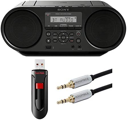 Sony ZSRS60BT CD Boombox with SanDisk 16GB USB Flash Drive and Audio Cable Bundle 3 Items product image