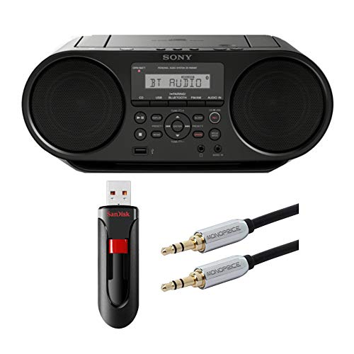 Sony ZSRS60BT CD Boombox with SanDisk 16GB USB Flash Drive and Audio Cable Bundle (3 Items)