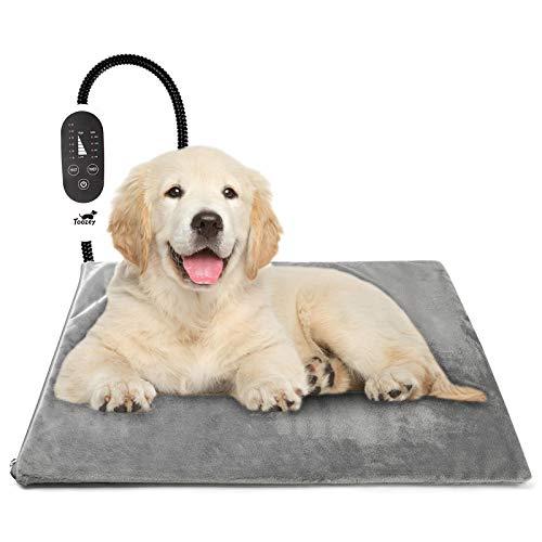 Toozey Katzen & Hund Heizmatte Innen 60 * 45cm - [ Britischem Stecker], Timing & Temperatur Einstellbar Sicher Elektrisch Haustier Heizdecke für Neugeborene/Klein/Altere Katze und Hunde L