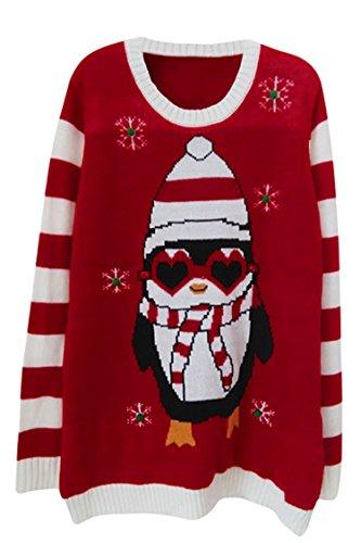 Viottiset Weihnachtspullover Jumper Ugly Christmas Sweater für Damen M Rot Pinguin