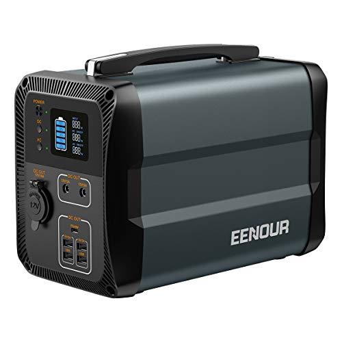 EENOUR ポータブル電源 EB50 大容量 135000mAh/500Wh 家庭用蓄電池 純正弦波 PSE認証済 50Hz/60Hz対応 AC(300W 瞬間最大600W)/DC/USB出力 Type-C PD対応 急速充電 LEDライト付き ソーラー